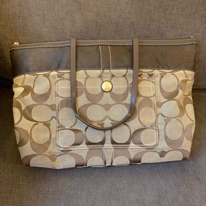 Coach Large Signature Brown Canvas Tote
